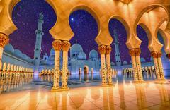 Sheikh Zayed Grand Mosque in Abu Dhabi, UAE at night Stock Photos
