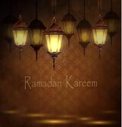 Intricate Arabic lamps with lights - stock illustration