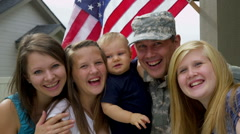 Portrait of American military family Stock Footage
