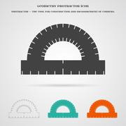 Vector Geometry Protractor Ruler Icon - stock illustration
