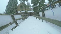 Wooden bridge in sky resort Stock Footage