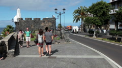Garachico town. Road TF-42 passes along shore. Tenerife Stock Footage