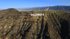Time ramp aerial shot of Hollywood sign - Los Angeles, Arkistovideo