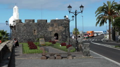 Building of Castillo de San Miguel fortress is on embankment of Garachico, Spain Stock Footage