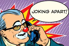 evil clown boss joking apart - stock illustration