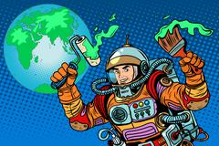 green Earth ecology astronaut - stock illustration
