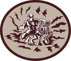 Stock Illustration of Tiitii Wrestling God of Earthquake Circle Woodcut
