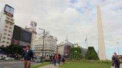 Obelisk, Obelisco, Buenos Aires, Argentina. Landmark, tourism, travel Stock Footage