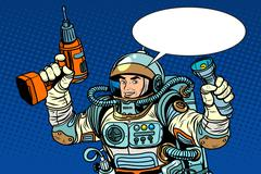Astronaut with a drill and flashlight Stock Illustration