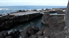 Volcanic formations in on the shore of the Garachico town. Tenerife, Canary Stock Footage