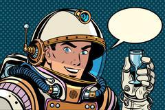 Cosmonaut toast celebration Stock Illustration