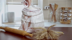 Home baking ingredients. Organic flour bag. Cooking ingredients Stock Footage