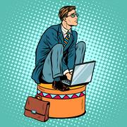 Businessman worker on a circus pedestal Stock Illustration
