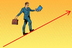 Businessman acrobat walking the wire graphics - stock illustration