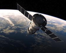 Cargo Spacecraft In Space. 3D Scene - stock illustration
