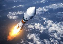 Cargo Carrier Rocket Launch In The Clouds Stock Illustration