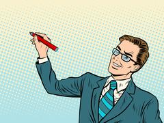 Male business coach draws on background Stock Illustration