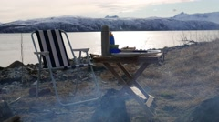 Picnic on the beach of Northern Norway. Stock Footage