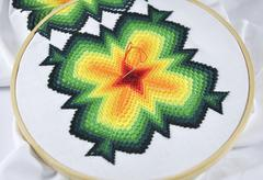 Embroidery needle embroidery fabric - stock photo