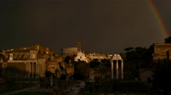 Timelapse - Rainbow over the Forum Romanum - stock footage