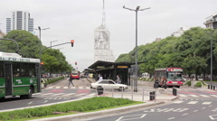 9 de Julio avenue, Buenos Aires, Argentina. Traffic. Stock Footage