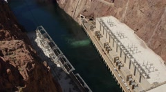 Base of the Hover Dam and incredible bridge Stock Footage
