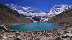 Time lapse of beautiful lake surrounded with Andes Mountains, Peru - stock footage