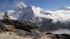 View of cloudscape and mountain in Dingboche Stock Footage