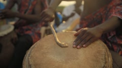 Group of tribes playing drum and dancing in field, Ghana Arkistovideo