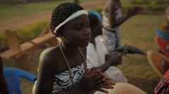 Tribal women dancing in field, Ghana - stock footage