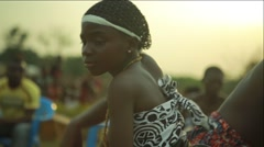 Tribes dancing in field, Ghana Stock Footage