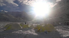 Camping area on mountain at Imja Glacier Stock Footage