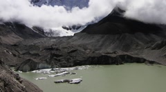 Time lapse of Glacial Lake of Imja Tsho and beautiful snowcapped mountain, Nepal - stock footage