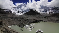 Time lapse of Glacial Lake of Imja Tsho and beautiful snowcapped mountain - stock footage