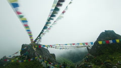 Time lapse of prayer flags in Namche, Nepal Stock Footage