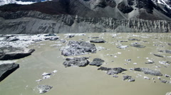 View of Glacial Lake and snowcapped mountain Stock Footage
