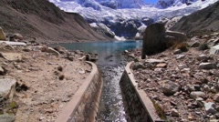 View of Pallqaqucha lake near Andes mountain range, Peru - stock footage