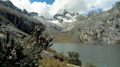 View of Pallqaqucha lake near Andes mountain, Peru - stock footage