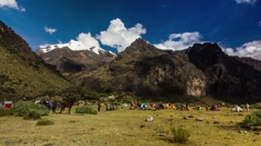 Time lapse of tourists camping near Andes mountain, Peru - stock footage
