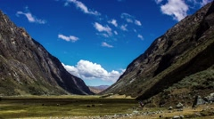 Time lapse of tourists hiking near Andes mountain, Peru Stock Footage