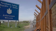 Serbian-Hungarian border fence Stock Footage