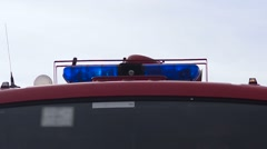 Blue lights on the fire truck siren Stock Footage