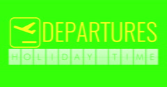 text flip of board of airport billboard departures with words name holiday time - stock footage