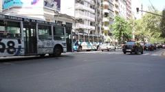 2016, Santa Fe Avenue, Buenos Aires, Argentina. Traffic Stock Footage