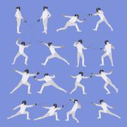 Vector set of sport fencing athletes isolated icons. Fencing silhouette - stock illustration