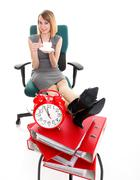 Woman work stoppage businesswoman relaxing legs up plenty of documents isolat - stock photo