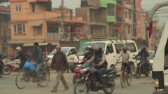Nepal 1 Year After the Earthquake. Regulating Kathmandu Traffic 4K Stock Footage