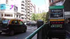 2016, Santa Fe Avenue, Buenos Aires, Argentina. Traffic, Subway station - stock footage