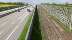 German highway, approaching ICE train Stock Footage