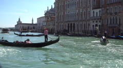 Gondolas manoeuvaring on the Grand Canal, Venice Stock Footage